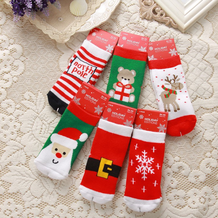 Christmas Baby sock Winter Children socks toddler warm socks newborn infant socks retail(China (Mainland))