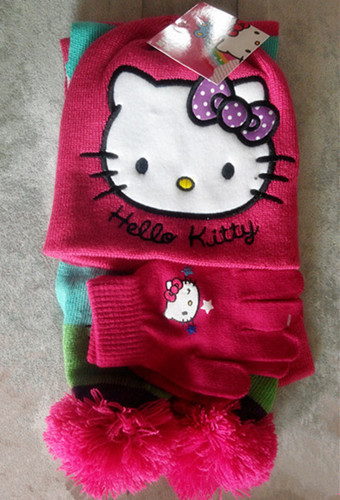 New Hello Kitty Cartoon Kids Knitting Hat+Scarf+Gloves Set For Childern Christmas Gift For Girls And Boys Baby Cap Set 3pcs/set(China (Mainland))