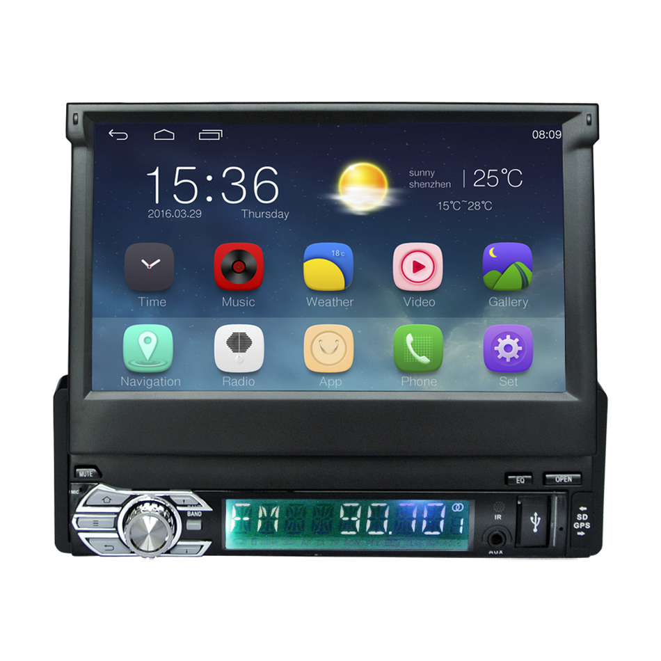 Android 5.1 Universal 1 Din Car video Player GPS Navigation In-dash retractable screen 1 din Car Radio Stereo with bluetooth(China (Mainland))