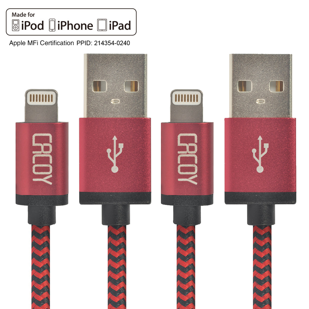 2xPack For iPhone Cable, CACOY MFI Certificated 8pin USB Charging Data Lead For iPhone 5 5S 6 6S Plus iPad Air 2 Transmit 2m(China (Mainland))