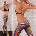 New Arrival Women Seamless Side Leggings Irregular Colored Stripes Jeggings Sexy Casual Pants