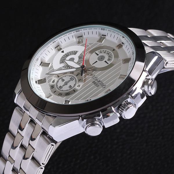 White Stainless Full Steel Watch Analog Quartz Male Clock Flight Hour Mens Wrist Casual Fashion Sport Cool Waterproof Watch 8650