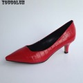 YOUGOLUN Office High Heels 6cm Women Elegant Genuine Leather Pumps Sexy Woman Mid Heel Fashion Black