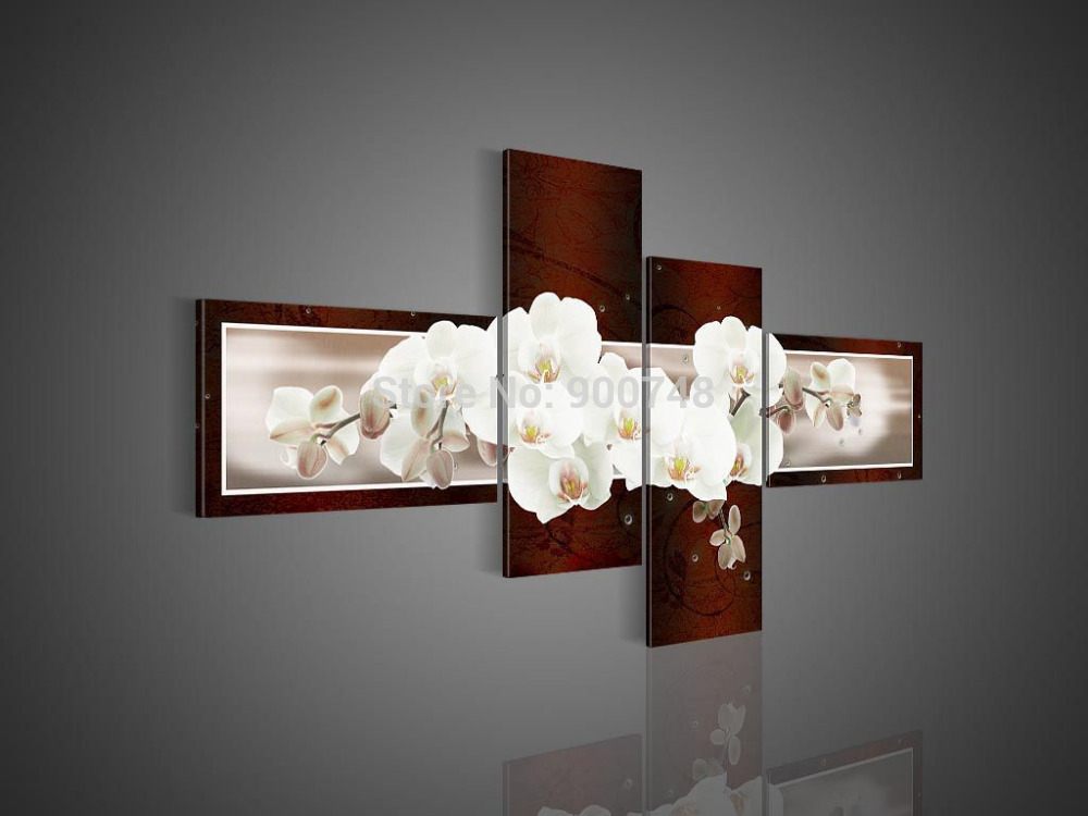 Hand Painted Flower Oil Painting On Canvas Butterfly Flower on Blown Modern Art Home Decoration 4 Pieces Painting Free Shipping(China (Mainland))