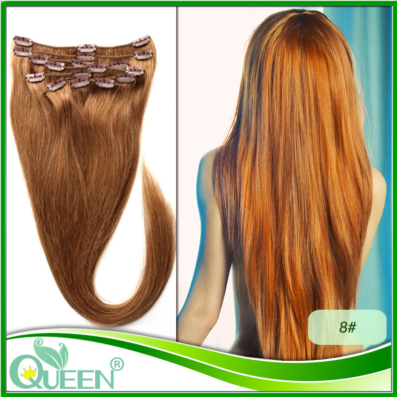 Colored Clip on Hair Extensions Clip in Hair Extension Natural Human Hair Clip in Extensions 8Pcs/Set 8# Dark Brown Light Brown(China (Mainland))