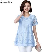 Soperwillton 2016 Summer New Women Blouses Elegant Hollow Out O-Neck Woman Chiffon Blouse Shirts Femme Plus Size L-5XL TOP #D828(China (Mainland))