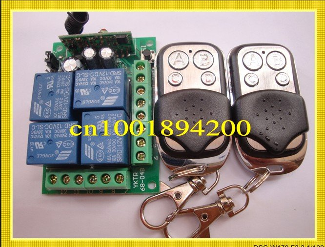 12V 4CH(Channel)1 Receiver &amp; 2Transmitter Wireless remote control Working way is adjustable 200M for garage door / window /lamp<br><br>Aliexpress