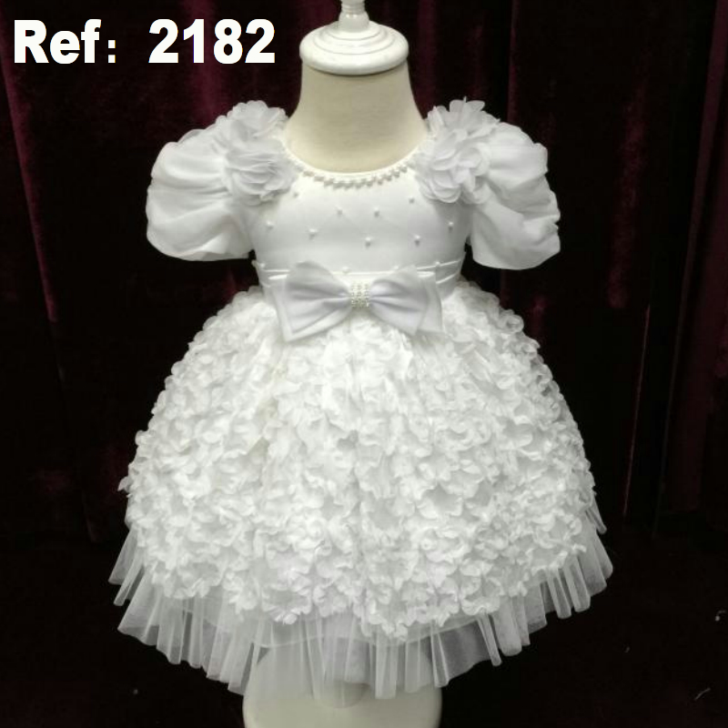 Cute Infant Dress 2015 New baby Girls Dress with flowers White christening dress 1 Year baby girl birthday dress factory China(China (Mainland))