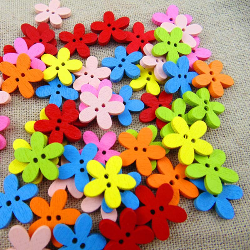 holesale 100pcs 14x15mm Multicolor Cute Flower Natural Decoration Sewing Scrapbooking Wood Buttons FZ0111(China (Mainland))