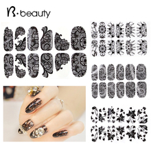 2015 New Black Lace Nail Stickers,5pcs/lot 3d Rhinestone Full Cover Adhesive Art Foil Polish Decals Nail Beauty Decorations