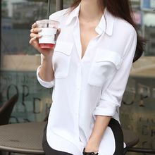 Discount Women Chiffon Blouse Hot 2015 Spring Summer Ladies' Elegant Long Sleeve Tops Casual Loose Shirt Blusa Feminina WSH174(China (Mainland))