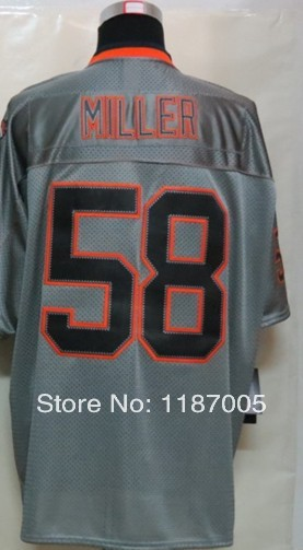 Hot selling Men's 100% Stitched #58 Von Miller Lights Out grey Elite Version Football Jerseys(China (Mainland))