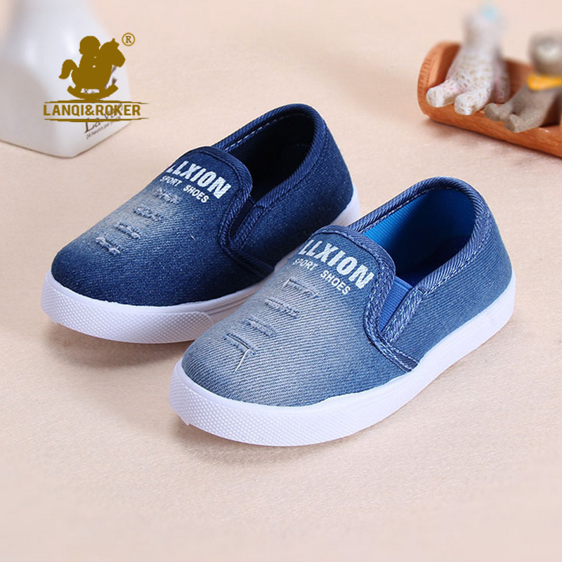 Newest Designer Autumn Children Canvas Shoes For Kids Casual Shoes Boys Plimsolls Slip On Shoe Little Girls Denim Jeans Sneakers(China (Mainland))