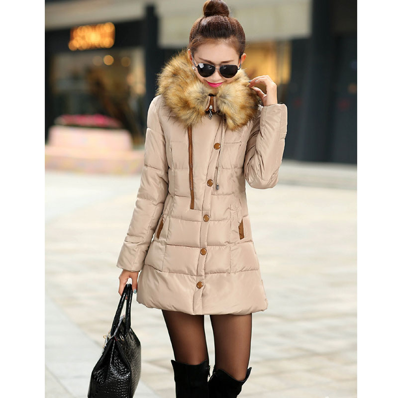 2015 New Fashion Women Coat Winter Down Parkas Coat Thick Double Breasted Fur Collar Candy Color Duck Down Jacket for girl CD21