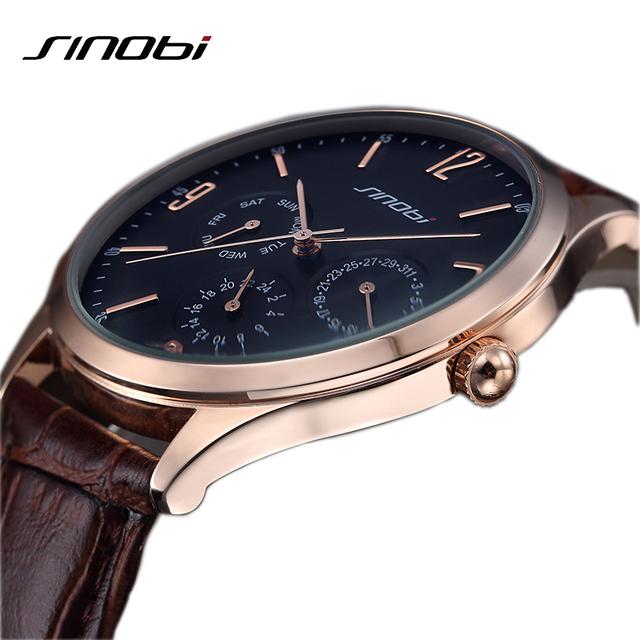 2016 relojes хомбре сверхтонкий лучший бренд кварцевые часы мужчины свободного покроя бизнес японии SINOBI кожаный аналоговые часы мужские Relogio подарок