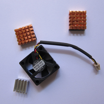 With Tracking Number 2014 HOT Mini Fan for Raspberry Pi with Heat Sink Cooler Set (2x Pure Copper & 1x Aluminum)