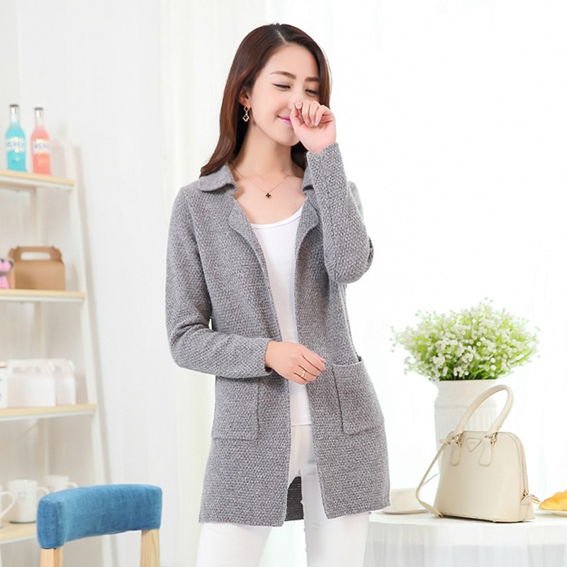 2015 new fall and winter korean stylish women's turn-down collar solid color big pocket long cardigans sweaters female(China (Mainland))