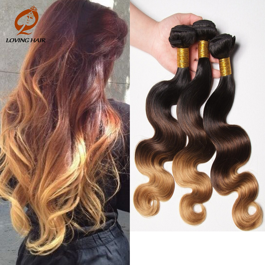 Mongolian Hair Body Weave Bundles 100% Body Wave Ombre Blonde 4Pcs Lot Honey Blonde Vip Beauty Sexy New Model Hair GaGa Hair(China (Mainland))