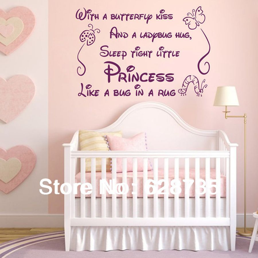With a butterfly kiss wall stickers for kids rooms girl removable art vinyl nursery decor baby girl,princess wall stickers q0205(China (Mainland))