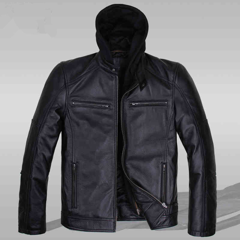Leather Jacket Men 2015 Spring  Autumn  Winter  Black Casual Full  Hooded Genuine Leather Pockets Motorcycle clothingMan JSH035Одежда и ак�е��уары<br><br><br>Aliexpress