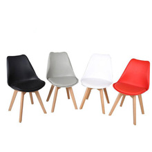 Set Of 4 Pieces Leisure Tulip Upholstered Wooden Chair Furniture Ergonomic Office Colorful Stool Chair Wood(China (Mainland))