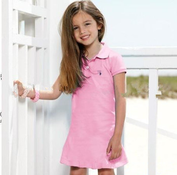 wholesale 2013 new kids girls polo dress long/short sleeve sports dresses classic style collar children's clothing aged 3-7