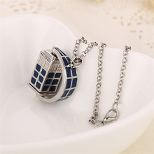 dr doctor who necklace rotating tardis police box vintage blue and silver pendant jewelry for men and women wholesale(China (Mainland))