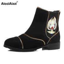 Buy Brand New Women Genuine Leather Ankle Boots Woman Fashion Floral Square Heel Botas Fur Winter Warm Shoes Size 31-45 for $54.54 in AliExpress store