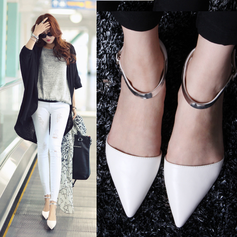 2015 New Arrival Women Casual Buckle Strap Tipped Toe Square Low Heel Pump Dress Shoes Size US 4.5-8.5 H842(China (Mainland))