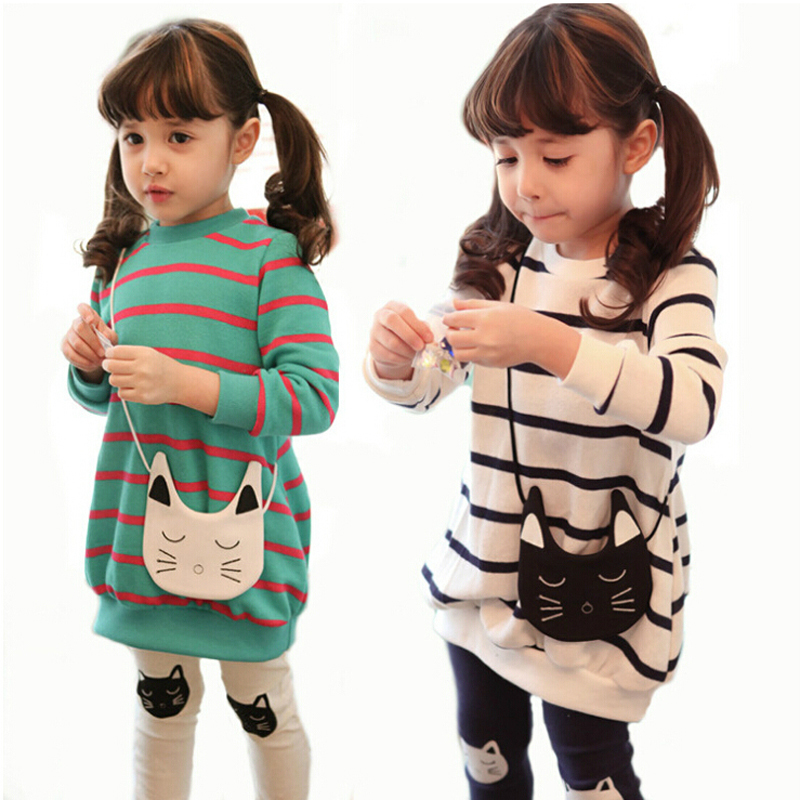 New arrived spring & autumn 3-10 years children sweatshirt outerwear, cute kitty cat with stripe kids clothing set, baby clothes(China (Mainland))