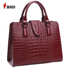 Genuine leather bag ladies 2016 crocodile pattern Women messenger bags handbags women famous brand designer high quality fashion(China (Mainland))