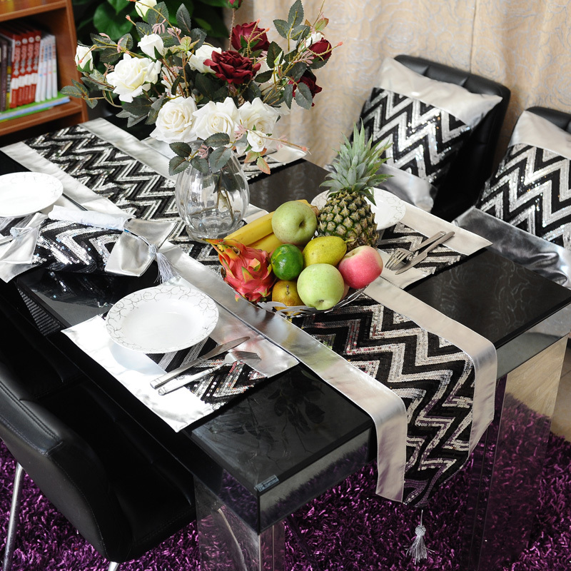buy black silver pu table runner place mat pillow cover modern luxury banquet. Black Bedroom Furniture Sets. Home Design Ideas