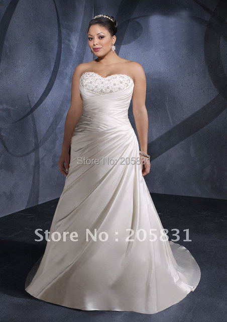 On Sale Free Shipping Empire Lace-up A-line Sweetheart Chapel Train Beading Plus size Bridal Gown Wedding Dress Vestido de Novia