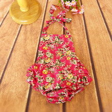 Floral bubble romper,baby bubble romper ,Girls bubble romper ,Baby Girls Summer rose cotton playsuit(China (Mainland))