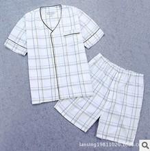 Original foreign order New 2015 Men's v-neck short-sleeved pajamas sets Cotton plus size short-sleeve shorts sleepwear suit(China (Mainland))