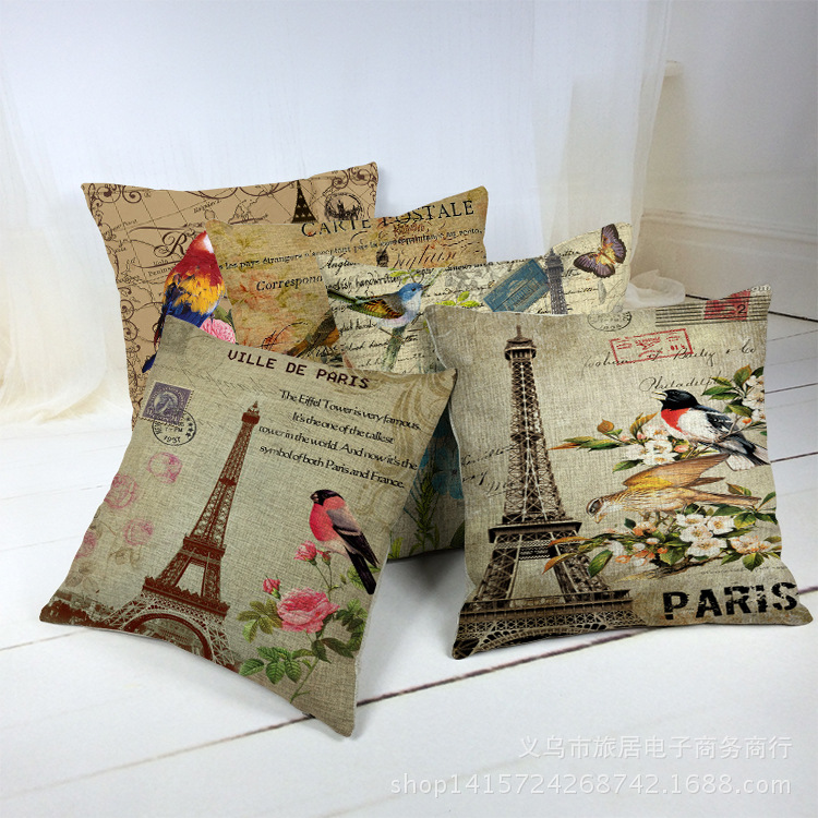 Decorative Pillows Vintage : Hot Sale Floral Bird Paris Eiffel Tower Decorative Throw Pillows Retro Vintage Europe Home Decor ...