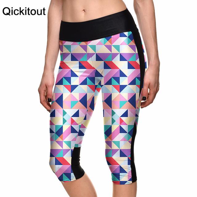 Сексуальный 2015 женщин 7 точка брюки мода цветные решетки алмаза цифровой печать ...