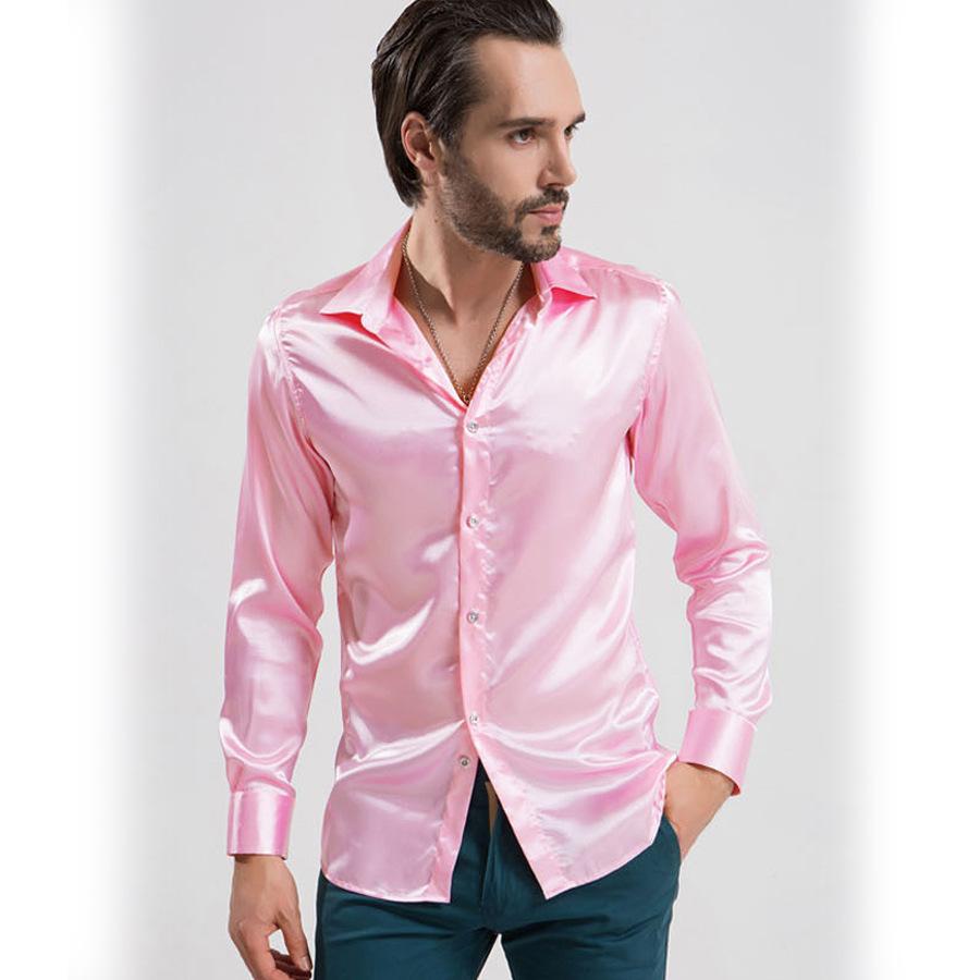 Camisa Masculina 2015 Men Casual Shiny Silk Shirts Summer Style Long Sleeve Luxury Shirts High Qulaity Men Slim Fit Shirts(China (Mainland))