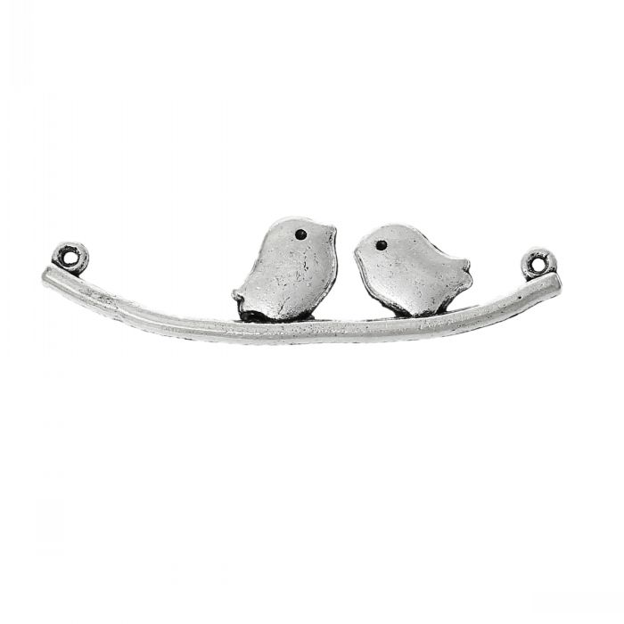 Connectors Findings Lover Birds Stand On Branch Antique Silver 4.3cm x 11.0mm,50 PCs 8seasons(China (Mainland))