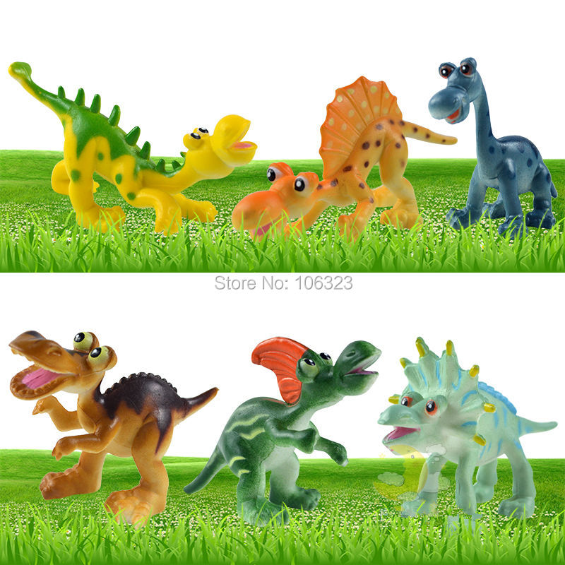 6 Cute Cartoon Design Dinosaurs Model Toys, Lovely Brachiosaurus Spinosaurus Styracosaurus Tyrannosaurus Stegosaurus Hadrosaur<br><br>Aliexpress