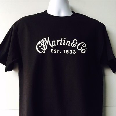 Martin & Company Guitar Logo black short sleeve T-Shirt Free Shipping(China (Mainland))