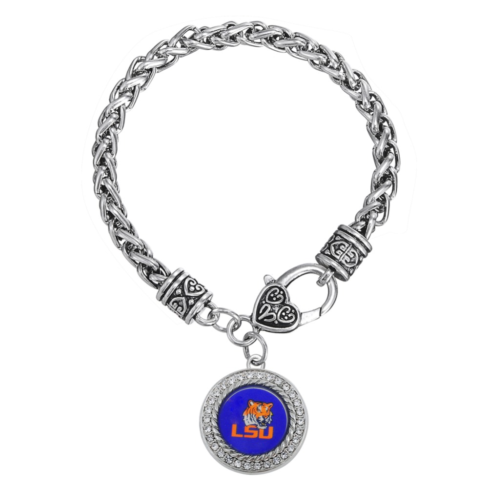 Rhodium plated round crystals LSU Tigers bracelet(China (Mainland))