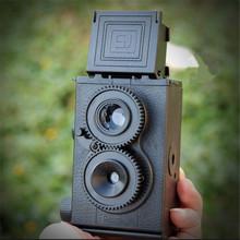 High Quality DIY Black Classic Play Hobby Twin Lens Reflex TLR 35mm Holga for Lomo Camera Kit Outdoor Travel Photograph(China (Mainland))