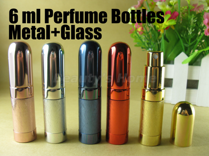 6ml spray metal perfume bottles make up empty glass perfume refillable atomizer bottle container free shipping wholesale #0385(China (Mainland))