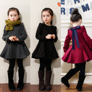 Red Gray Black Girls Dress Autumn Winter Children Clothing Ruffles Long-Sleeved Girl Dresses Thick Velvet Cotton Girls Clothes(China (Mainland))