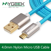 MyGeek 4.0mm Nylon Micro USB Cable for Samsung HTC Huawei Android 3m 2m Fast Charge wire Microusb Mini USB Mobile Phone Cables