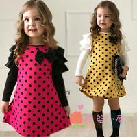 2014 Spring Autumn fashion polka dot butterfly girl long-sleeve children dresses princess dress  girls princess dresses