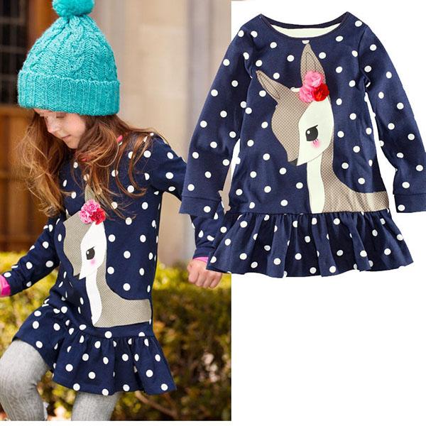 Гаджет  Wholesale FreeShipping Baby Girls Toddler Kids Long Sleeve Lace Skirt One-piece Deer Cotton Skirt 1-6Y None Детские товары