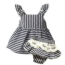 Baby Girl Clothes Newborn Romper Stripe sleeveless Ball Gown +Shorts for baby 1 year birthday kids girl baptism princess dresses(China (Mainland))