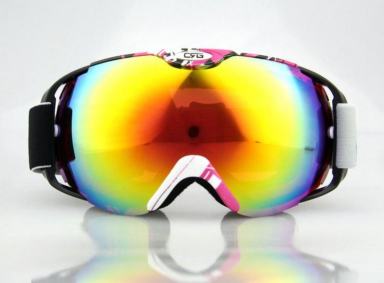 NEW pink /white Frame Coloured Double Lens adult ski snowboard goggles Discount ski goggles Cheap ski goggles(China (Mainland))